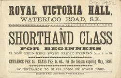 Advert For A Shorthand Class At The Royal Victoria Hall